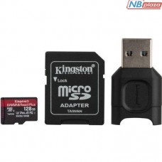 Kingston 128GB microSDXC Class 10 UHS-II U3 V90 A1 Canvas React Plus + SD adapter + USB reader (MLPMR2/128GB)