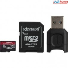 Kingston 64GB microSDXC Class 10 UHS-II U3 V90 A1 Canvas React Plus + SD adapter + USB reader (MLPMR2/64GB)