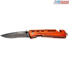 Нож Neo Tools складаний з фiксатором, з лезом для розрiзання ременiв (63-026)