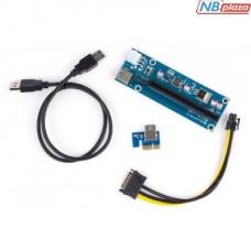 Райзер PCI-E x1 to 16x 60cm USB 3.0 Cable SATA to 6Pin Power v.006C Vinga (PCI-E